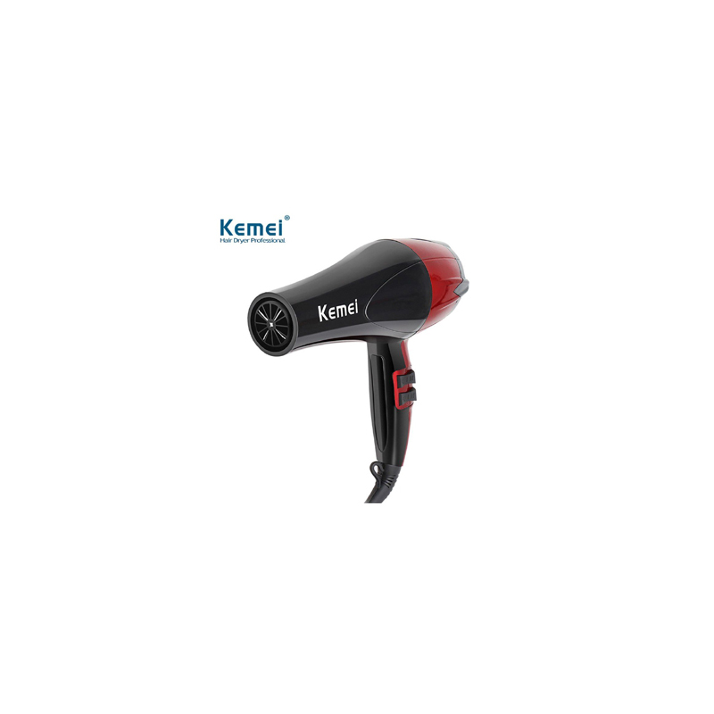 Kemei KM-8893 Professional Hair Dryer - Black and Red